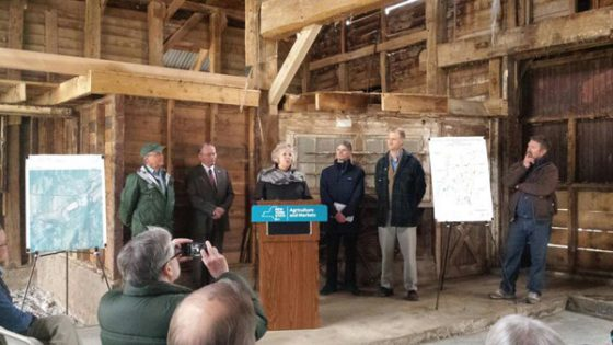 press conference for award announcement in barn